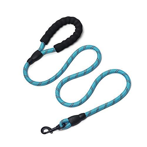 Correa de Perro,1,5 m Correa de Fuerte de Perro Gato Resistente y Ajustable para Perro con Mango Acolchado Suave y Hilos Reflectantes (Azul)
