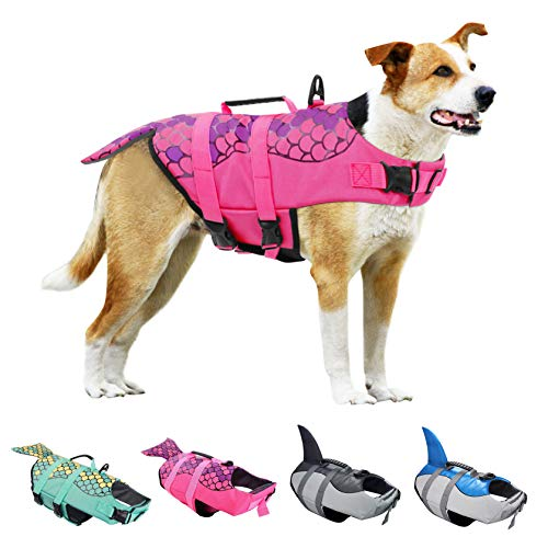 KOESON Dog Life Jacket, Fashion Pet Swimming Vest, Puppy Life Saver with Adjustable Strong Handle-Pink-M