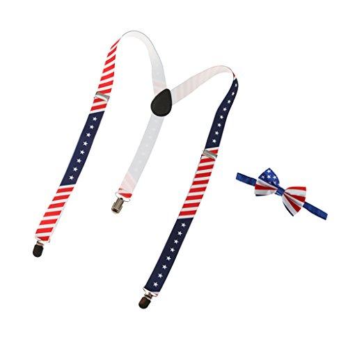 Generic Cravate + Bretelles Y Réglable avec 3 Clips Elastiques de Motif Drapeau Américain pour Homme Femme