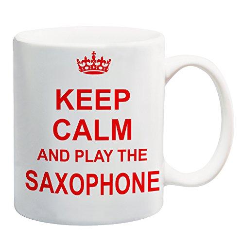 Keep Calm and Play die Saxophon rot Tasse Geschenk Musikinstrument