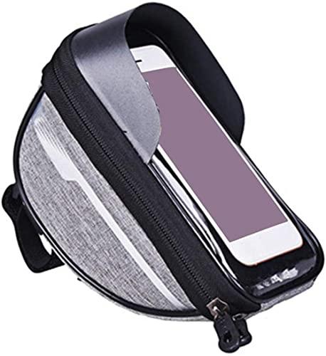 Bolsa de Bicicleta Cabeza Tubo Manillar Celular Teléfono Móvil Bolsa Titular de la Caja Pantalla Phone Mount Bags Case Accesorios-Gris