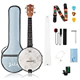 Mulucky 4 String Banjolele Concert 23 Inch Remo Drumhead Beginner Kit With Beginner Kit Truss Rod Gig Bag Tuner String Strap Picks - BU803