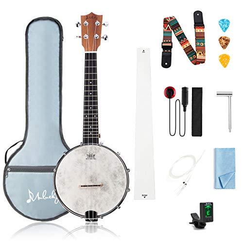 Mulucky BU803 4-saitige Banjo-Ukulele, Konzert-Konzert, 53,8 cm, Ahorn-Korpus mit Halsstab, Gigbag