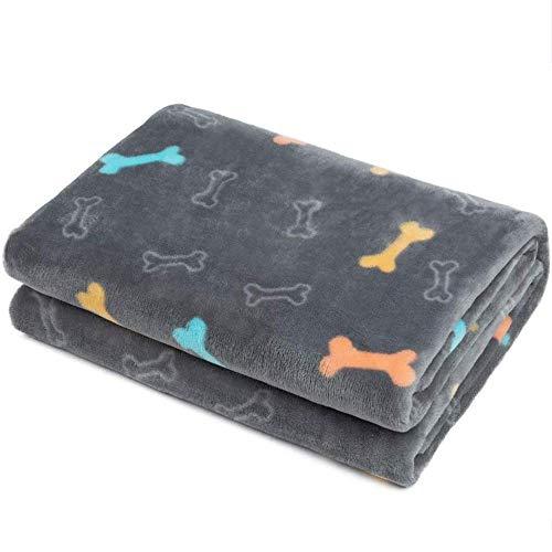ALLISANDRO Manta Suave de Microfibra Mantas de Suave Felpa para Perros Gatos Conejos y Otras Mascotas Manta para Gato, 80x60cm, Gris
