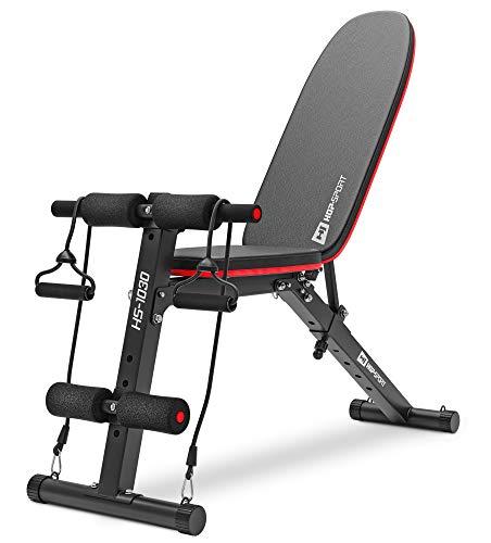 Hop-Sport klappbare Hantelbank HS-1030 mit Beinfixierung - verstellbare Trainingsbank für Bankdrücken oder Sit-ups