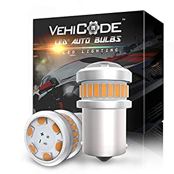 VehiCode 12V/24V 5009 RY10W 12093 LED Bulb Amber 3000K Yellow 7507 PY21W 12496 BAU15S Projector Mini Replacement for Car Motorcycle Electric Scooter Turn Signal Light Blinker Lamp  2 Pack