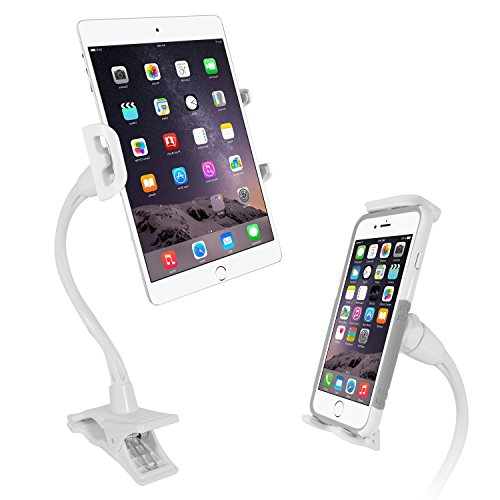 Macally Gooseneck Tablet Holder - Easy to Use and Universal Compatibility - Perfect for iPhone or iPad Clip Mount Holder - Works with devices up to 8 width - Flexible & Sturdy Tablet & Phone Clamp