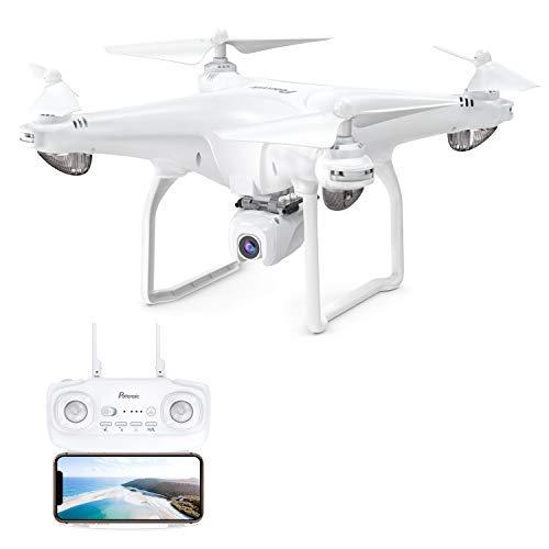 Potensic Drone GPS con Fotocamera 1080P Drone WiFi 5G FPV RC GPS Doppio Drone Videocamera HD Grandangolare Regolabile Seguimi Altitude Hold, Bianco