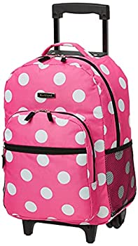 Rockland Double Handle Rolling Backpack Pink Dots 17-Inch