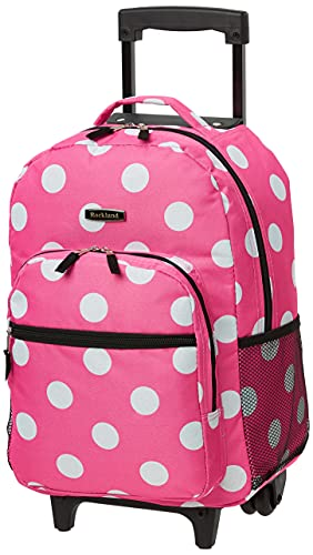 Rockland Double Handle Rolling Backpack, Pink Dots, 17-Inch