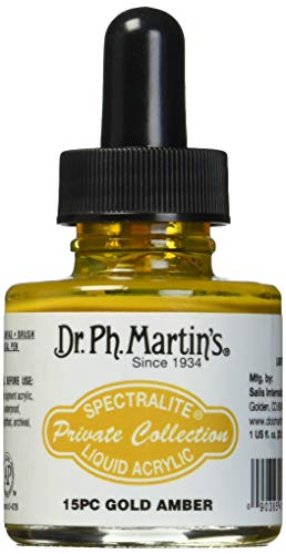 Dr. Ph. Martin's Spectralite Private Collection Liquid Acrylics, 1.0 oz, Gold Amber (15PC)