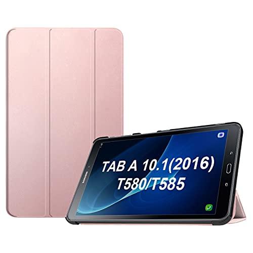 FINTIE SlimShell Funda para Samsung Galaxy Tab A 10.1 2016 - Súper Delgada y Ligera Carcasa con Función de Soporte y Auto-Reposo/Activación para Modelo SM-T580N/T585N, Oro Rosa