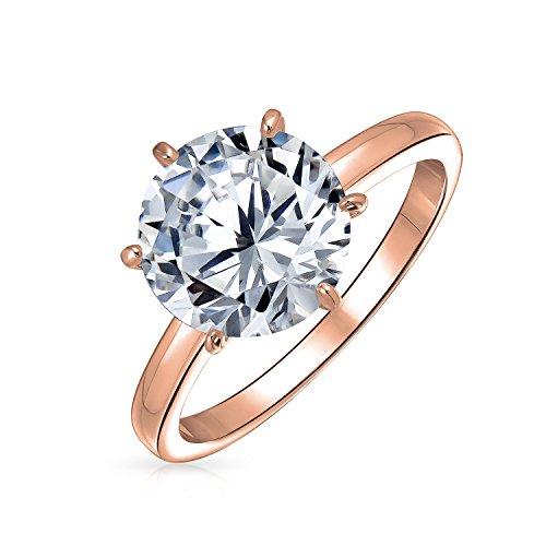 Bling Jewelry 2,75Ct De 6 Puntas AAA Corte Brillante CZ Solitario Anillo De Compromiso Mujer Rosa De Oro Chapado En Plata Sterling 925