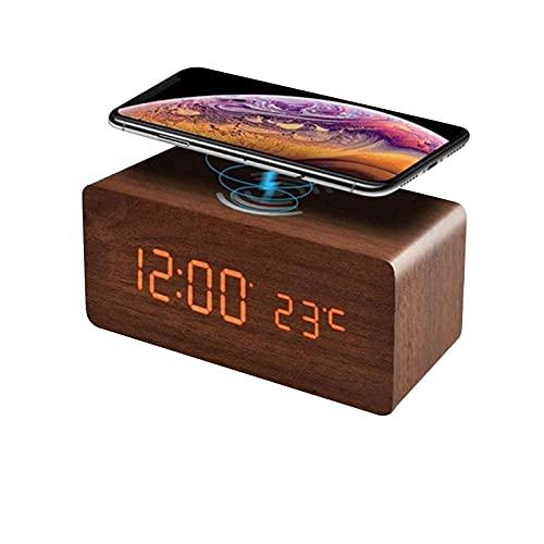 DriSubt Reloj despertador de carga inalámbrica, reloj de escritorio LED de madera con indicador de fecha de temperatura, control de sonido, carga inalámbrica para iPhone, galaxia y más