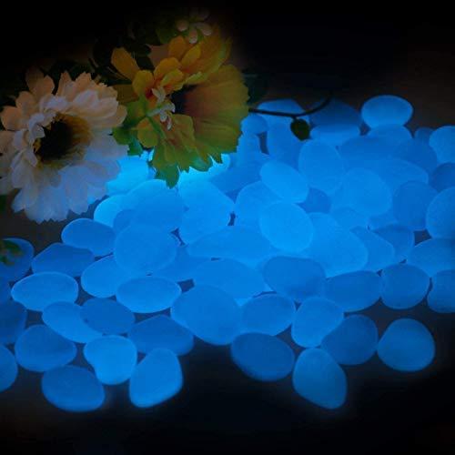 Smooce Piedras Luminosas Jardín, Piedras Decorativas Guijarros Brillantes, 200 Piezas Piedras de jardín para decoración de pasillos al Aire Libre, Decorar Acuario Sendero Patio de césped