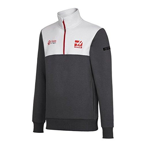 H.A.A.S® Haas F1 Fleece-Pullover mit Reißverschluss, offizielles Lizenzprodukt, Größe L