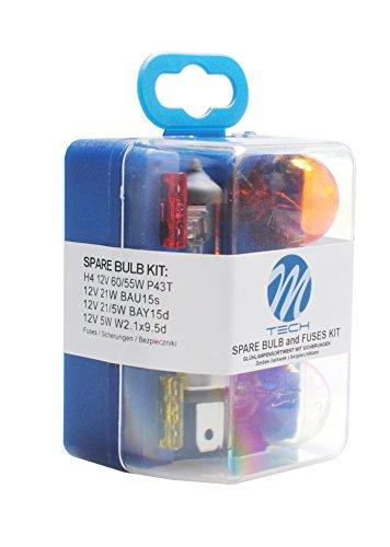 MTech Set H4 60/55 W 12 V Ampoules/Lampes de Rechange avec fusibles