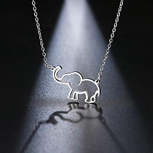 Collar Joyas Collar De Acero Inoxidable para Mujer, Collares con Colgante De Elefante De Origami para Amantes, Collares De Moda De Plata para Mujer, J