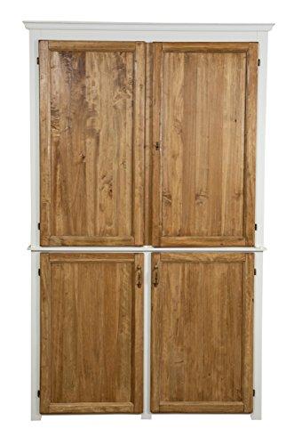 Biscottini Buffet de cuisine en bois massif de tilleul avec structure finition blanche vieillie portes finition naturelle L130 x PR67 x H210 cm Fabriqué en Italie