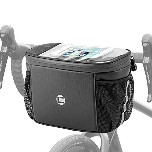 Luckits Borsa da Manubrio Bici, Borsa da Bici Impermeabile 4L Borse da Manubrio da Ciclismo con Funzione Keep Warm/Cold, Tasca per Telefono/Mappa in TPU, Nastro Riflettente Cestino Anteriore