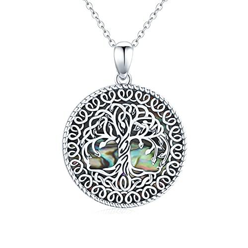 Collar con colgante de árbol de la vida para mujer de plata de ley con colgante de árbol genealógico redondo de concha de abulón para mujeres