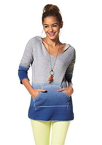 AJC Damen Sweatshirt Kapuze Hoodie Grau Blau M