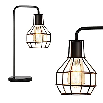 Metal Cage Table Lamp Bedside Desk Lamp Nightstand Industrial Lamp Reading Light Lamp with Marble Base for Bedroom Living Room Office, Black
