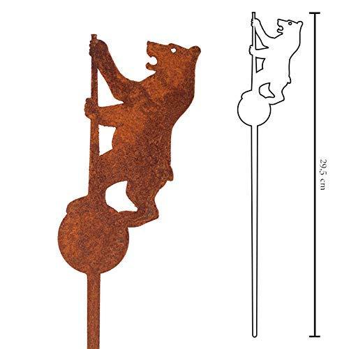 Galionsfigur Bärlin | Designer Blumenstecker Edelrost - Deko, 30cm hoch, Berlin Bär Souvenir, Mitbringsel, Gastgeschenk, Made in Germany