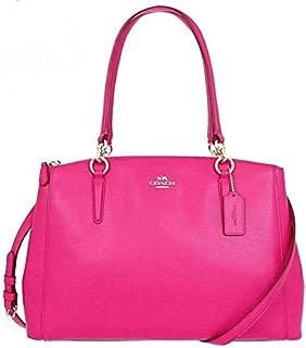 Coach F36637 IMBAJ Crossgrain Leather SM Christie Carryall Satchel Shoulder Bag - Pink Ruby