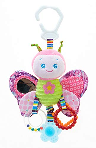 RichChoice Butterfly Baby Hanging Toys:1-3-6-9 Month,1-2-3 Years Old Toy for Stroller,Car Seat,Crib; Butterfly Toy for Newborn,Infant, Toddler,Kids with Crinkle,Rattle,Teether,Squeaker,Mirror