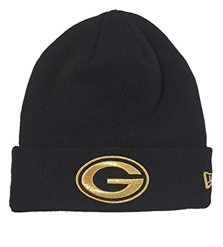 New Era Green Bay Packers Beanie - NFL Essential Metallic Logo - Black - One-Size