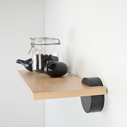 Regalset boekenkast, wandplank incl. dragers cirkel | 60 x 20 cm beuken Buche/Schwarz