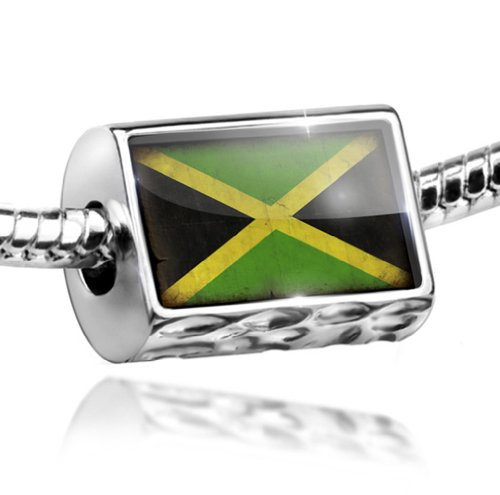 NEONBLOND Charm Jamaica Flag with a Vintage Look - Bead Fit All European Bracelets, Neon