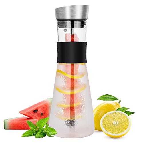 Karaffe, CNNIK 1L Glaskaraffe mit Fruchtspieß, Edelstahldeckel & Isolierter Griff, für Heißes/Kaltes Wasser, Tee, Saft, Getränke, Milch, Kaffee, Wein