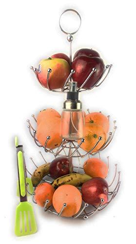 PACK - Frutero de 3 Alturas Para La Cocina De Acero Inoxidable Desmontable - Redondo y Moderno + Pinza de cocina + Espray Pulverizador de Aceite (Pack frutero Acero)