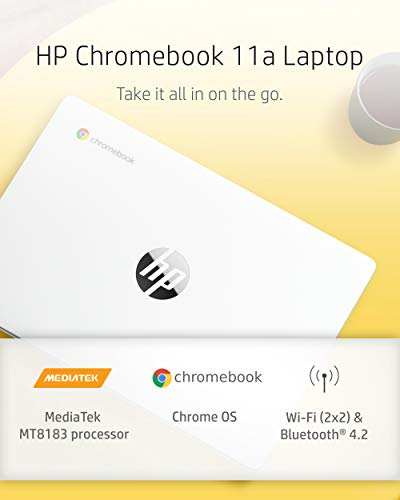 Product Image 2: HP Chromebook 11-inch Laptop – Up to 15 Hour Battery Life – MediaTek – MT8183 – 4 GB RAM – 32 GB eMMC Storage – 11.6-inch HD Display – with Chrome OS – (11a-na0021nr, 2020 Model, Snow White)