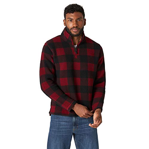 Wrangler Authentics Men's Wooly Fleece Quarter Zip Pullover, Red Buffalo, XX-Large