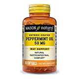 """Mason Natural Peppermint Oil 50 mg""""Enteric Coated"""" - Natural Gastrointestinal Comfort, Supports a Healthy Gut, Bowel Soothing Dietary Supplement, 90 Softgels"""