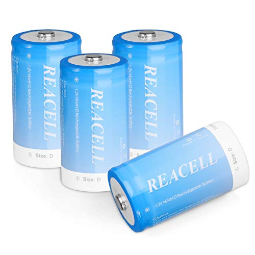 REACELL 10000mAh D Rechargeable Batteries 4 Pack, 1.2V NiMH Long Lasting...