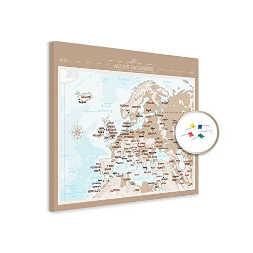 PinDeineWelt - Hochwertige BRAUNE Reise Pinnwand EUROPAKARTE Canvas - Pinnwand XXL - Personalisiert mit [Namen] – inkl. Pins und PERSONALISIERUNG, Größe: 60x80 cm