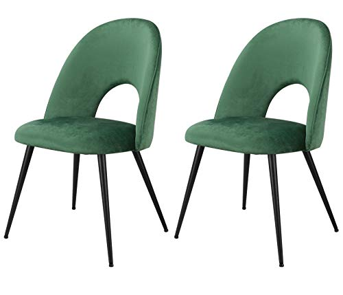 Klassischer Esszimmerstuhl, Samt, hochelastische Schaumstoff-Füllung, Metallbeine, offene Rückenlehne, für Heimmöbel, gewerbliches Büro, 2er-Set (OB-Grün, 2)