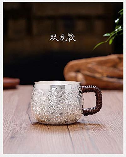 HMXCC - Taza de té de plata hecha a mano, taza de té, taza de café, taza de plata de iones (color: plata, tamaño: rojo)