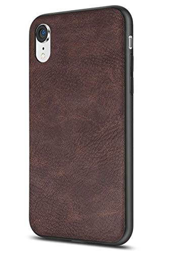 SALAWAT Compatible with iPhone Xr Case, Slim PU Leather Vintage Shockproof Phone Case Cover Lightweight Premium Soft TPU Bumper Hard PC Hybrid Protective Case for iPhone Xr 6.1inch 2018 (Dark Brown)