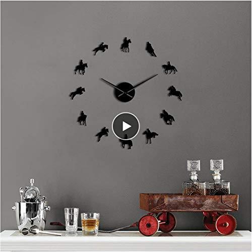 xtmyz Relojes de Pared Bricolaje Reloj de Pared DIY sin Marco Grande Acrílico Espejo Deportes Carrera de Caballos Reloj 3D Relojes de Pared Personalizados para Montar a Cab
