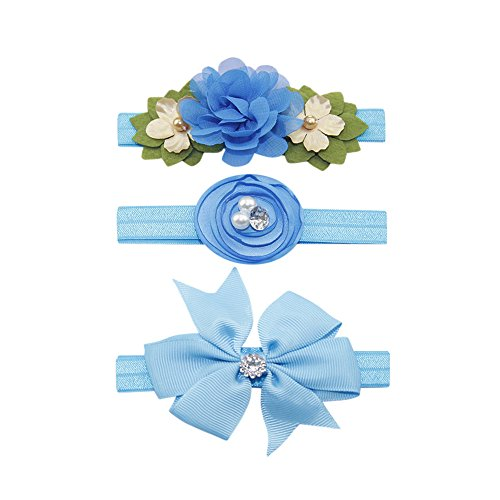 Lazzboy Baby Stirnbänder Haarband Turban Kleinkind Stirnband Haar Bogen Fliege Haarreifen Mädchen Head Wrap 3pcs Kids Elastic Floral Pearl Hair Girls Bowknot Set(Blau)
