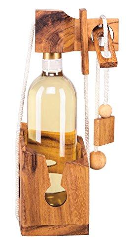 Zederello, Puzzle bottiglia in legno pregiato, scrigno per bottiglia, cassaforte bottiglia, confezione regalo per bottiglie di vino comuni, scrigno per bottiglie, gioco di logica