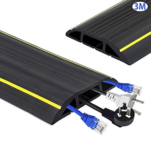 ケーブルプロテクター フロアケーブルカバー コードプロテクター 配線モール コードカバー 収納力良い 衝撃に強い上 配線カバー オフィス/PC/倉庫/工場内/コンサート/道路 電線ケーブル整理 床用ケーブルカバー (3M)