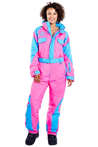 Bright Pink Neon Bunny Women's Retro Ski Suit from Tipsy Elves Size Small