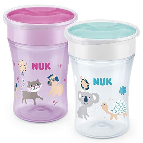 NUK Magic Cup vaso antiderrame bebe | Borde a prueba de derrames de 360° | +8meses | Sin BPA | 230ml | Gata/Koala (Rosado) | 2unidades