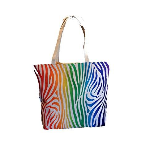 Rainbow Tiger Stripes 2-seitige Canvas-Tasche mit Reißverschluss und Futter und Innentasche Hell und schön 0833